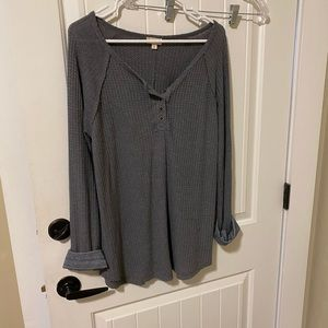 Boutique grey waffle knit top
